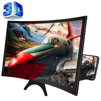 """""""12 HD 3D curva ampliada pantalla amplificador de Teléfono móvil lupa Smartphone soporte ampliar la pantalla por 3-4 veces"""