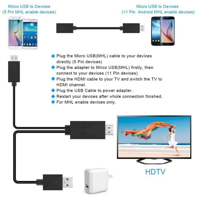 1,8 м Micro USB MHL к HDMI-совместимый кабель 5 Pin 11 Pin HD TV кабель Android адаптер 1080P OTG конвертер для Huawei Xiaomi TSFH