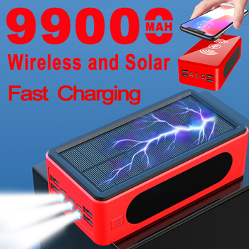 99000mAh Wireless Power Bank Portable Solar Charger for Samsung Xiaomi Iphone Large Capacity 4USB LEDLight Outdoor Fast Charging Cellphones & Telecommunications