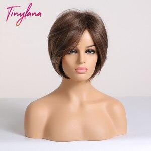 Image 3 - Küçük LANA kısa sentetik peruk patlama ile yan kısmı Bob saç kesimi sarışın kahverengi karışık renk Pixie kısa tarzı kadınlar için günlük kullanılan