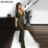 BANDAGE Spaghetti Strap Rayon Bandage Jumpsuits Women Black Green Bodycon Jumpsuits Long Bodysuit Romper Sexy Club Party Wear