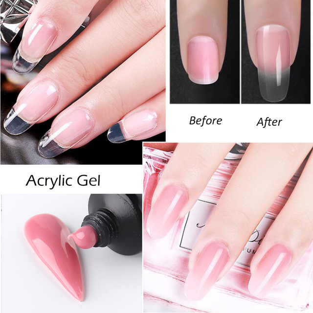 5pcs Acrylic Jelly Nails Gel Nail Kit Extend Builder Manicure Set 15ml Jelly Hard Crystal Gel for Finger Extension Brush CH1791