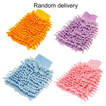 New Chenille Superfine Fiber Single-sided Cleaning Car Gloves Cleaning Rags Coral Car Wash Tools Car Wash Paws image