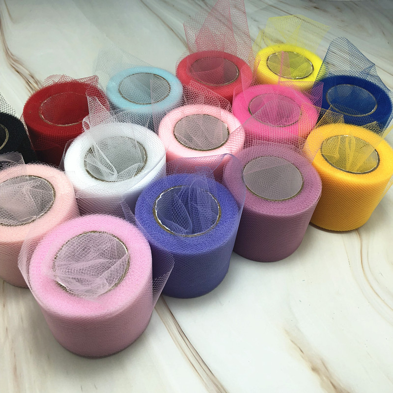 Tulle Roll Spool 25 Yards 5cm White Organza Roll Red Blue Tulle Organza Fabric Tutu Skirt Girl Baby Shower Decor Party Supplies.