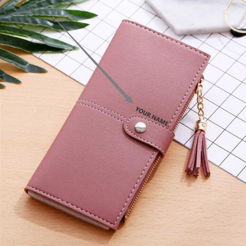 ZhiXuan – portefeuille Long à pompon pour femme, pochette avec fermeture éclair pour téléphone et porte-cartes