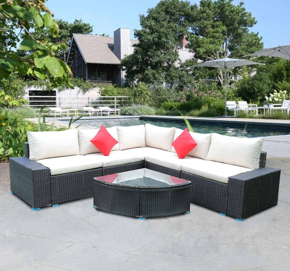 US STOCK Panana 7 Piece Large Outdoor Garden Yard Furnitures Set Patio PE Rattan Wicker Sofa With Coffee Table Sectional Set