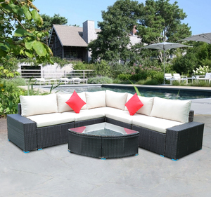 US STOCK Panana 7 Piece Large Outdoor Garden Yard Furnitures set Patio PE Rattan Wicker Sofa with Coffee Table Sectional Set(China)