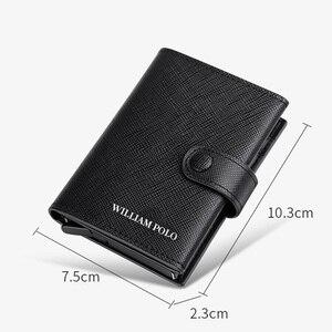 Image 4 - Williampolo 100% 남성 정품 가죽 지갑 남성용 고급 브랜드 지갑 rfid 카드 케이스 슬림 지갑 선물 신용 카드 소지자