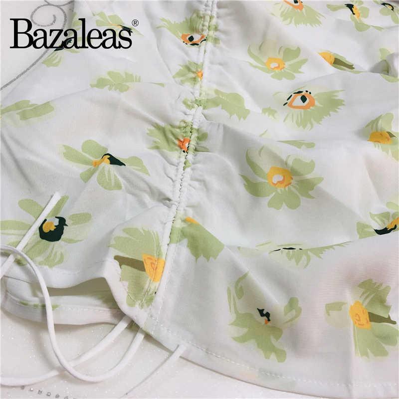Bazaleas Seksi Dua Buah Set Vintage Pusat Busur Crop Top dan Rok Mini Fashion Chic Bunga Cetak Wanita Suit Harajuku dipotong