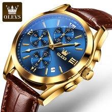 2021 OLEVS Neue Mode Herren Uhren Top-marke Luxus Quarz Uhr Premium Leder Wasserdichte Sport Chronograph Uhren Für Männer