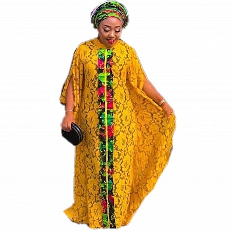 3 Piece Set Dress New Style Classic African Dresses For Women African Dashiki Fashion Water-soluble Lace Loose Beaded Long Dress