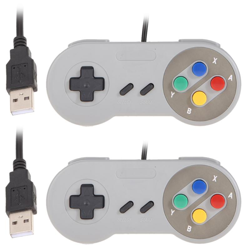 1 Pair USB Game Pads Classic Wired Famicom Controller for Super Nintendo SNES PC MAC PSP Operating Systems Games Phone Accessory image