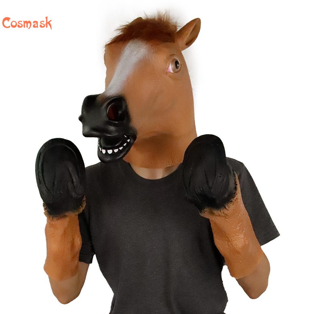Cosmask Brown Horsehead Mask Cosplay Halloween Mask Horseshoe Suit Latex Mask Horror Mask Full Face Horse Headgear Party Mask