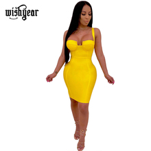 Wishyear Spaghetti Strap Plunging v-neck Bodycon Midi Dress Vest Square Collar Empire Sheath Slim Fashion Night Club Outfits