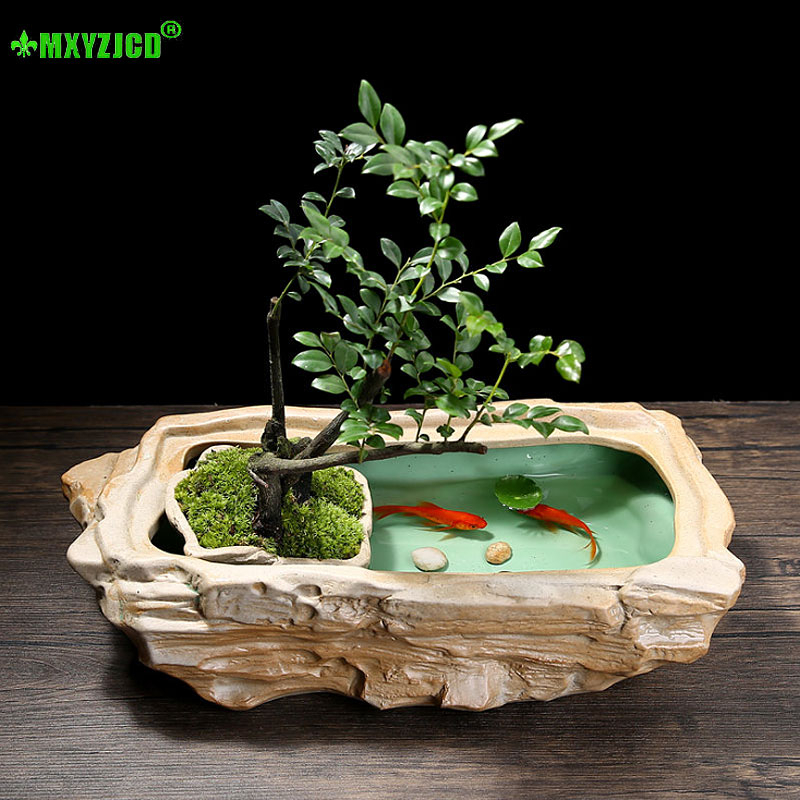 Hydroponic Ceramic Flower Pot Aquarium Office Desktop Decoration Fish Tank Succulents Potted Home Decor Accessories|Flower Pots & Planters|   - AliExpress