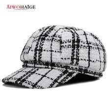 Восьмиугольные шляпы высокое качество в клетку, в полоску, с закруглёнными краями и пуговицей сверху, шапка, сезон осень-зима Повседневное Кепки Для женщин Для мужчин насыщенные цвета черный Новая мода