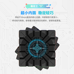 Image 2 - New YJ MGC 5x5 Black Speed Cube YJ MGC Stickerless Magnetic 5x5x5 Magico Cubes Puzzle Yongjun Toys for Children