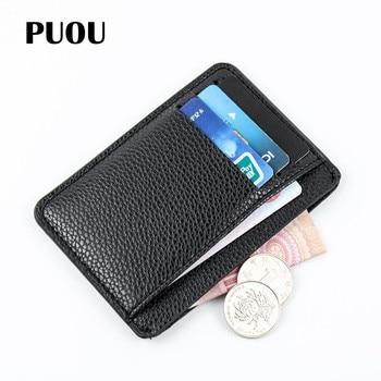 PUOU Slim Leather Multi-card-bit Pack Bag Bus Card Holder Men Wallet Business Bank Cardholder PU Package