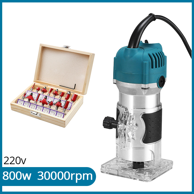 800w Wood Router 220v Woodworking Electric Trimmer Wood Milling Engraving Slotting Trimming Carving Machine With Milling Cutter