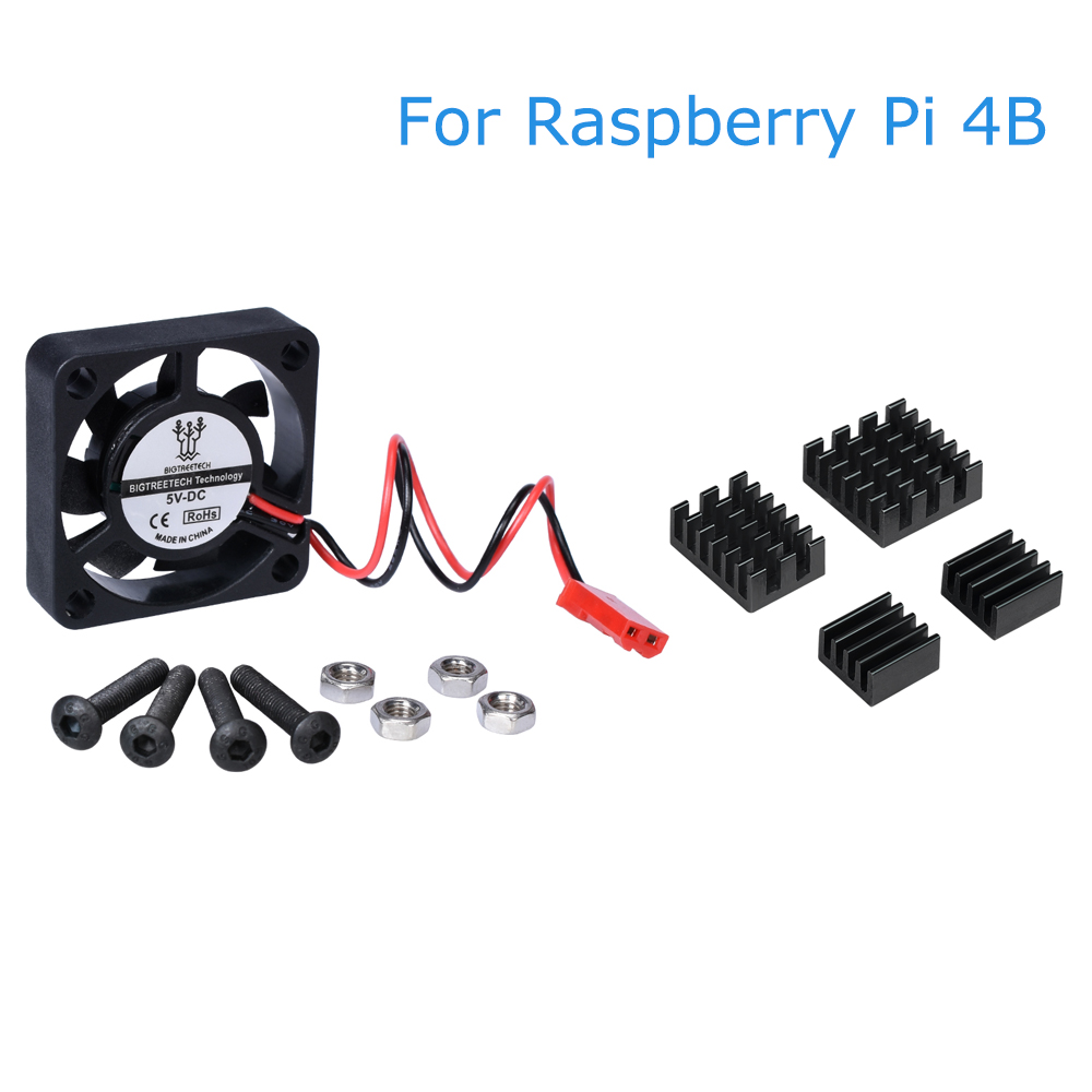 For Raspberry Pi 4 Model B Cooling Fan Quiet Mini Fan+Heat Sink Aluminum Heatsink Radiator CPU RAM LAN USB Sink  Raspberry Pi 4