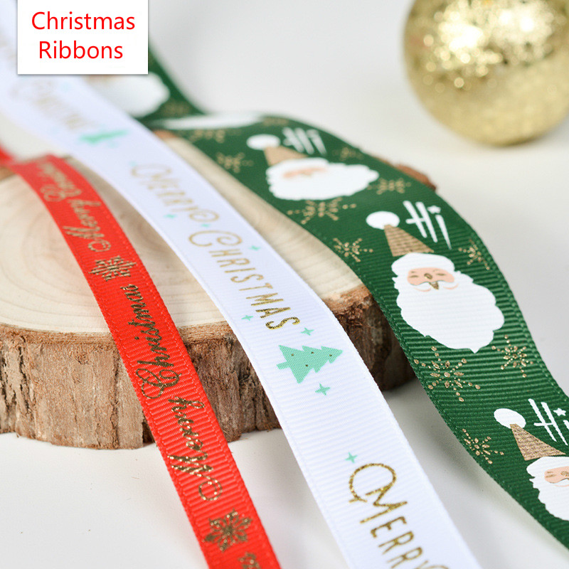 New 5yards lot 10mm 15mm 25mm Polyester Printing Christmas Grosgrain Ribbons DIY Xmas Party Wrapping Decor Supplies Dropshipping in Ribbons from Home Garden
