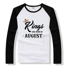 LYTLM Kings ARE BORN IN AUGUST Men't shirt Fashion Men t-shirt O-Neck Long Sleeve Man Clothing TShirt Brand Tees Funny Shirt(China)