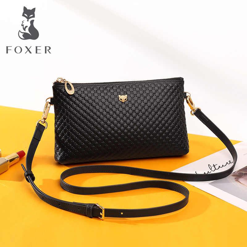 Foxer 레이디 블랙 메신저 가방 세련된 긴 어깨 스트랩 가방 정품 가죽 여성 간단한 클래식 스타일 crossbody 가방