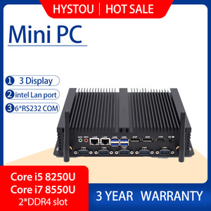 ITX Industrial Mini Desktop PC Core i5 8250U i7 8550U support three display LPT printing port wall hanging Tiny computer factory