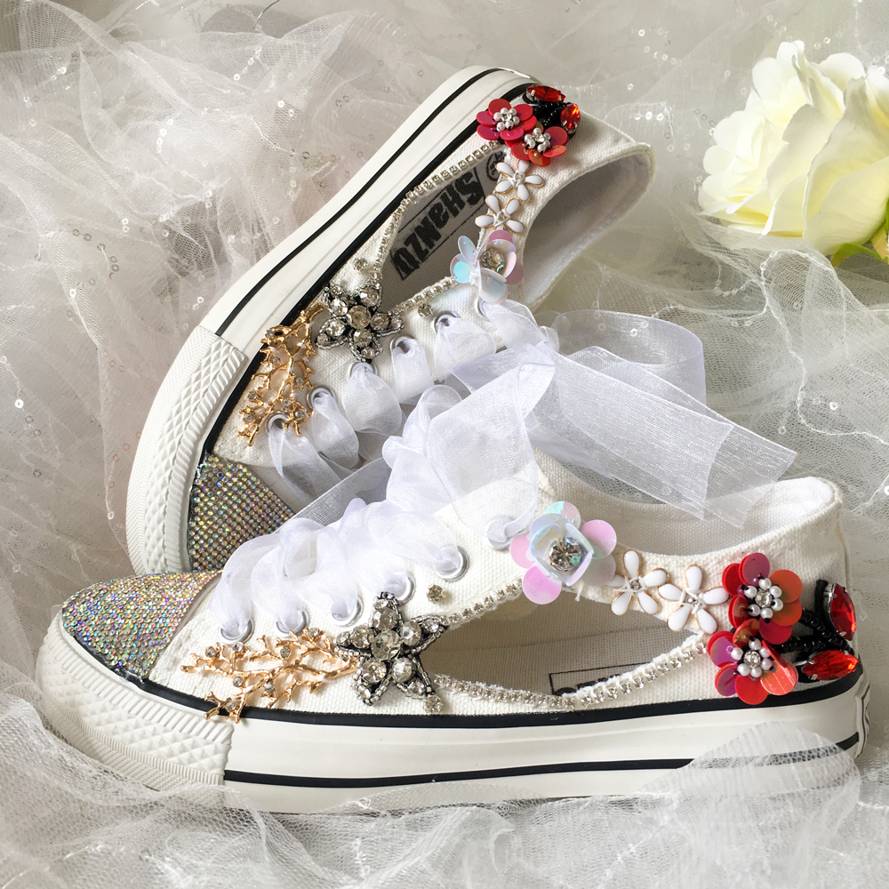 Gilrs Flats Canvas Design Shoes Parent Child  Wears Shoes Customize Personalized Make Flowers Stones Bright Bling Slippers