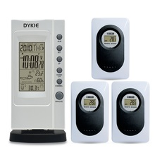 цены DYKIE Wireless Weather Station Thermometer Hygrometer Digital Display Moon Alarm Clock Weather Forecast up to 3 sensors
