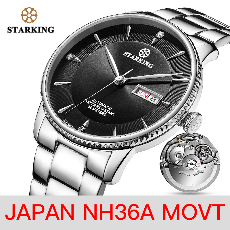 <font><b>STARKING</b></font> Watch Men Stainless Steel Japan NH36 Movt Wrist Watch Dress Male Clock <font><b>Sapphire</b></font> 50m Waterproof Relogio Masculino AM0270 image