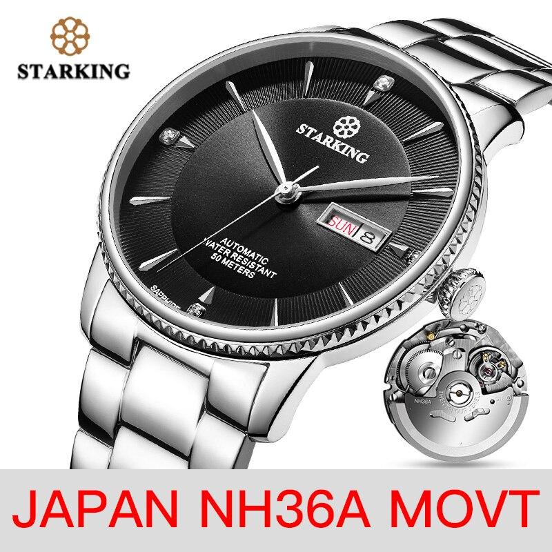 STARKING Watch Men Stainless Steel Japan NH36 Movt Wrist Watch Dress Male Clock Sapphire 50m Waterproof Relogio Masculino AM0270