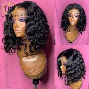 Topnormantic глубокая волна 13x6 Синтетические волосы на кружеве парик с предварительно вырезанные бразильские Волосы Remy парики натуральный Цвет ...