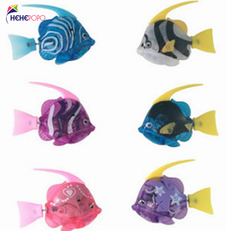 6 Pcs / Lot Electric Flash Fish Water Toys Flash Led Robot Pet Fish Battery Small Gifts For Children