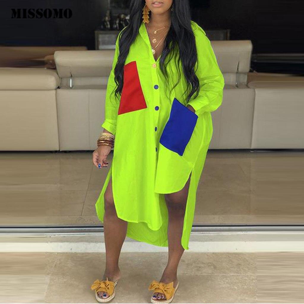 MISSOMO vestidos maxi dress Women Turndown-Collar Button Pocket Shirt Dress Long Sleeve Loose Summer Dress Spliced Split Dresses