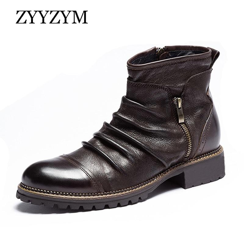 ZYYZYM Men Chelsea Boots Leather Spring Autumn Vintage Style Cowboy Boots Man High Top Zipper Ankle Boots For Men Botas Hombre