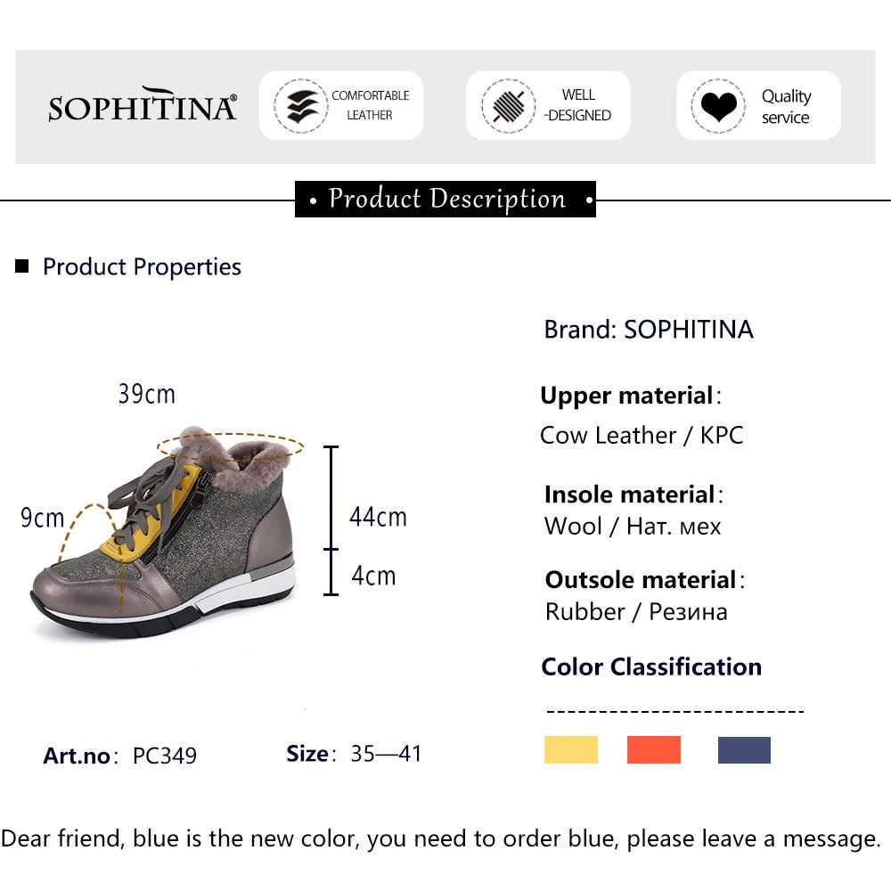 Sophitina Da Thật Chính Hãng Da Nữ Đế Bằng Rất Ấm Áp Mũi Tròn Cổ BuộC Dây Mùa Đông Giày Mới Bên Ngoài Thoải Mái Tuyết đế Bằng PC349