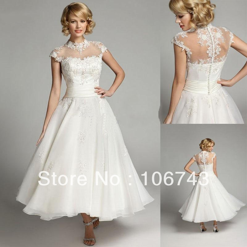 Free Shipping See Through 2015 New Arrival Cap Sleeve A-line High Neck Tea Length Custom Lace Appliques Cheap Wedding Dress