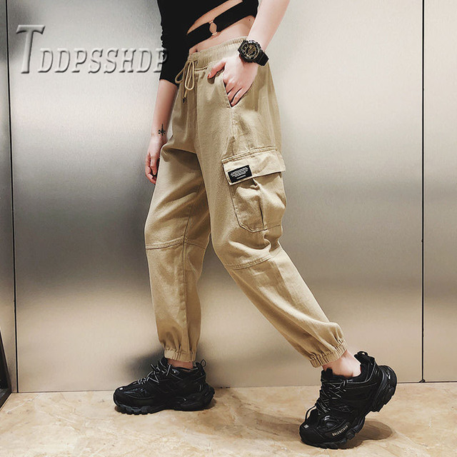 Cotton High Waist Cargo Pants 2019 Spring Pink Khaki Black Female Trousers 45