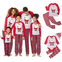 가족 크리스마스 잠옷 세트 가족 일치하는 옷 2019 크리스마스 파티 옷 성인 키즈 잠옷 세트 코튼 베이비 romper 잠옷