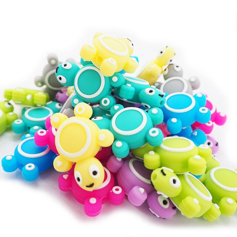 Chenkai 50PCS Silicone Turtle Beads Baby Animal Shape Of Mini Tortoise Teething BPA Free DIY Infant Nursing Pacifier Chain Clips
