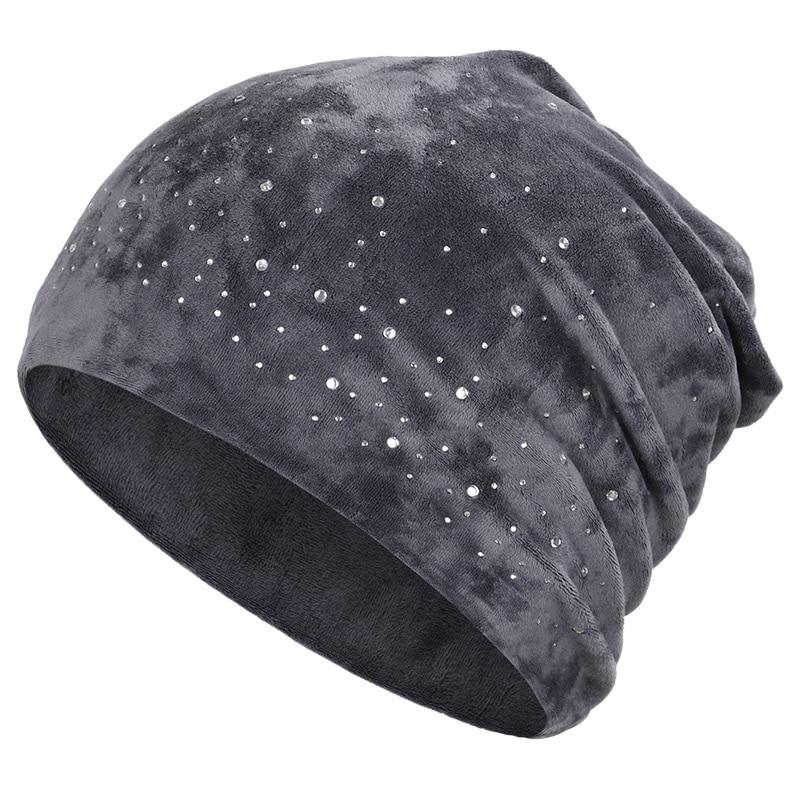 Новинка, модная женская шапочка, блестящие стразы, Осень-зима, Женская Повседневная шапка, Женская бархатная мягкая шапка Skullies Bonnet - Цвет: Gray-1