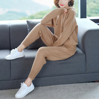 Autumn Winter Knitted Tracksuit Sweater Women Set Casual Clothes 2 Pieces Knit Hoodies Sweatshirts Top Pants Suits Plus Size