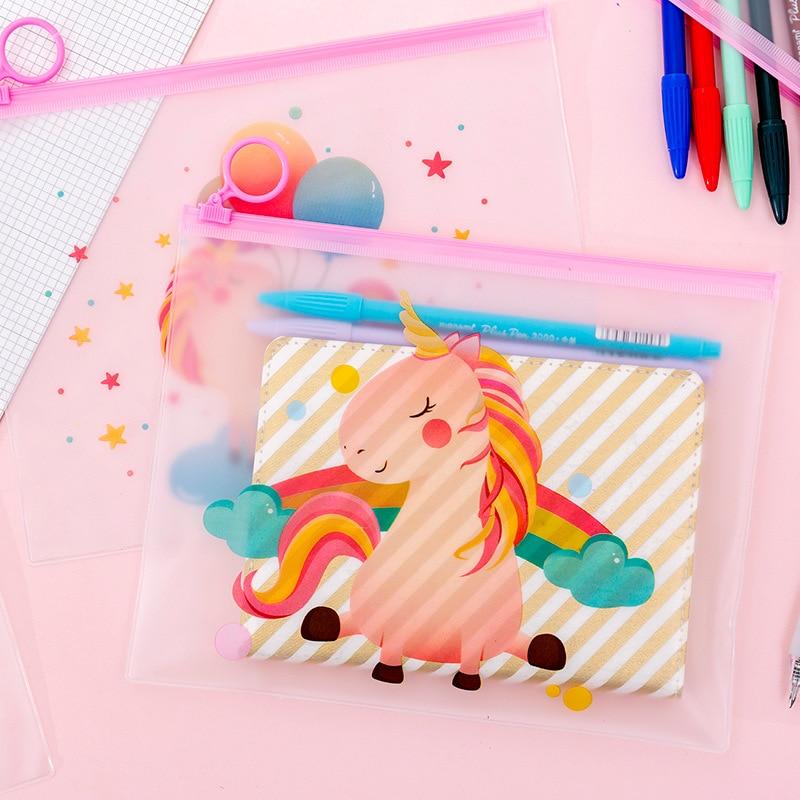 Cute Rainbow Unicorn File Bag Kawaii Transparent Document Bag Stationery File Folder School Office Supplies
