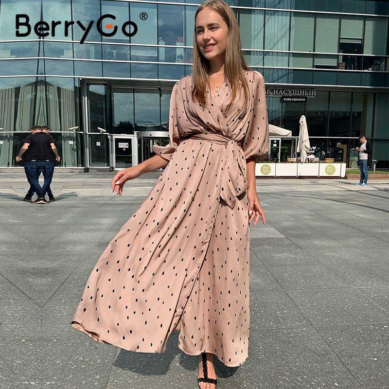 BerryGo Polka dot zarif kadın elbise puf kollu vintage uzun parti elbise V yaka kanat streetwear wrap elbise vestido çalışma giyim