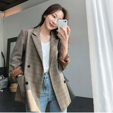 Womens jacket suit Double-breasted vintage casual check ladies blazer 2019 new autumn high quality office female