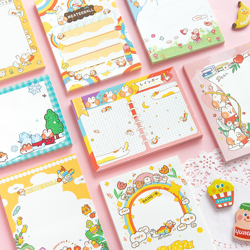 Mohamm 50 Sheets 10cm X 14cm Message Cute Cartoon Cat Series Notepad Memo Pad Note Memo Sheets Stationery Office Supplies