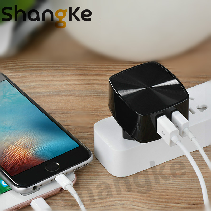 Dual USB Phone Charger 5V 2.4A  2 Port Fast Charging EU US UK Plug Wall Charger For IPhone Samsung Xiaomi Smart Mobile Adapter