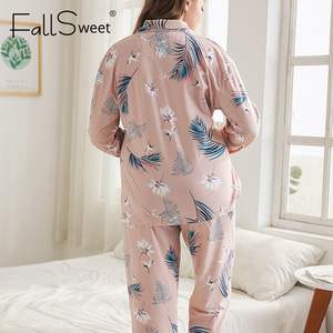 Image 2 - FallSweet Conjuntos de pijamas de tamaño grande para mujer, pijama de manga larga con estampado, pijama sensual, 4XL