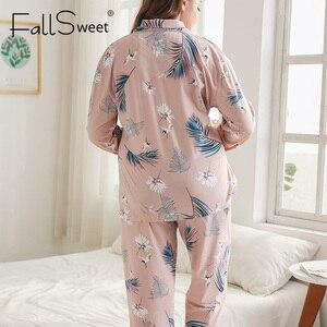 Image 2 - FallSweet 플러스 사이즈 잠옷 여성용 긴 소매 인쇄 잠옷 여성 잠옷 섹시한 Nightwear 4XL